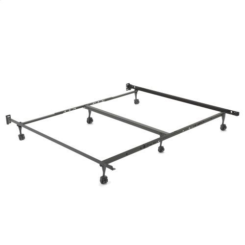 """Restmore Adjustable PLK45R/6R Posi-Lock Single Angle Cross Support Bed Frame with Headboard Brackets and (6) 2"""" Locking Roller Legs, Queen / Cal King / King"""