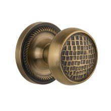 Nostalgic - Single Dummy Knob - Rope Rosette with Craftsman Knob in Antique Brass