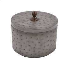 Round Faux Ostrich Skin Decorative Box, Medium