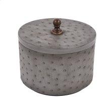 Round Faux Ostrich Skin Decorative Box, Medium