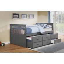 Bennett Gray Full Bed with Trundle & 3 Storage Drawers