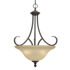Lancaster 3 Light Pendant in Rubbed Bronze with Antique Marbled Glass