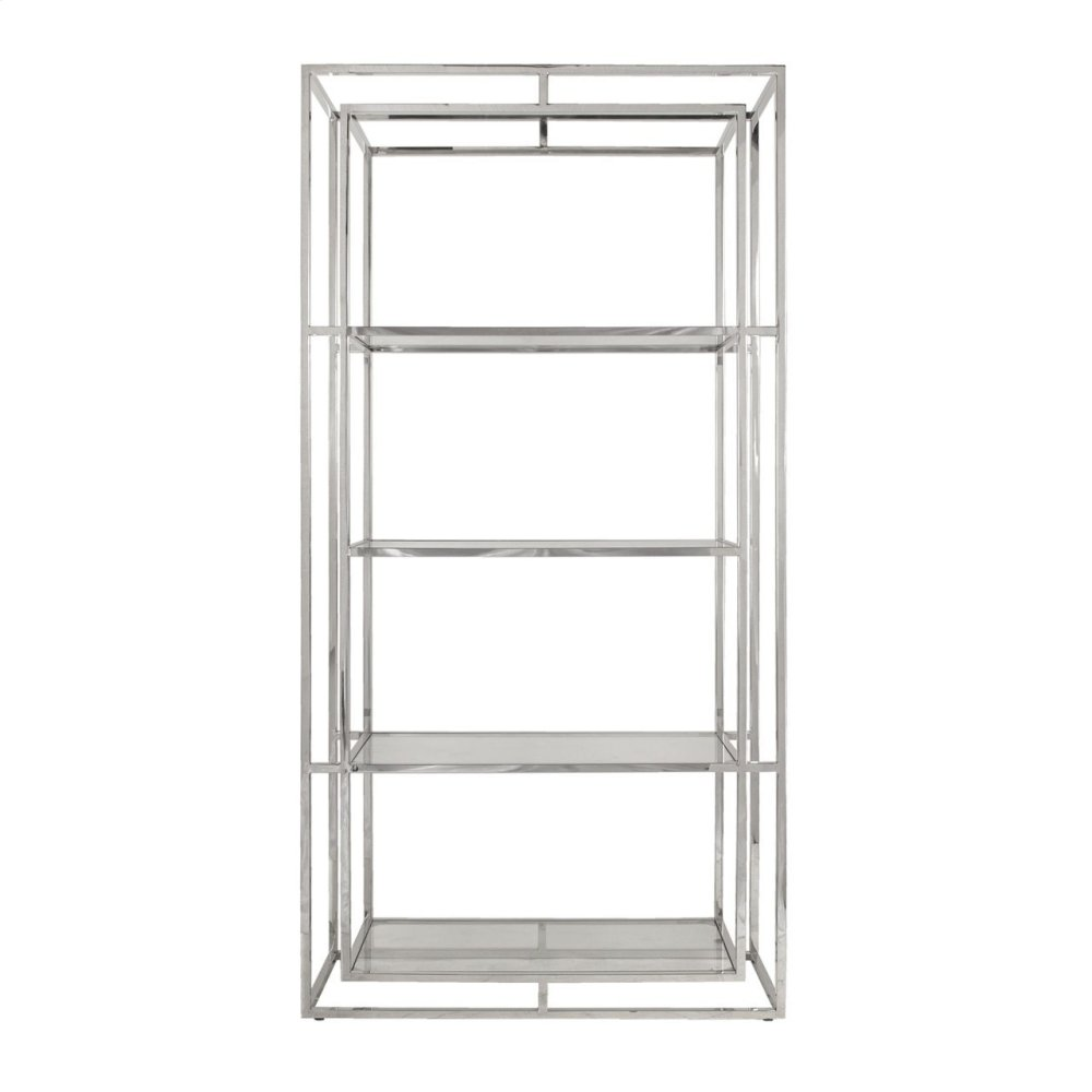 Double Frame Etagere In Nickel With Glass Shelves