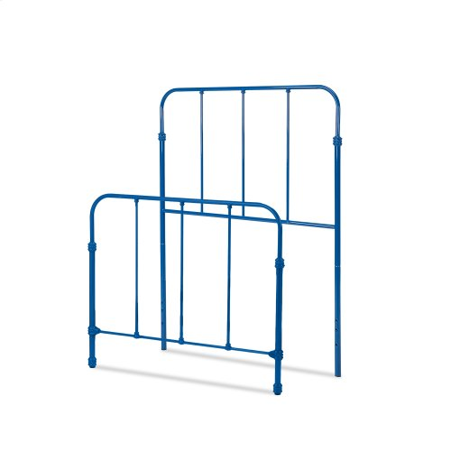 Nolan Fashion Kids Metal Headboard and Footboard Bed Panels with Fun Versatile Design, Cobalt Blue Finish, Twin
