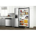 Amana 36-Inch Side-By-Side Refrigerator With Dual Pad External Ice And Water Dispenser - Black-On-Stainless