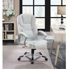 Casual White Faux Leather Office Chair