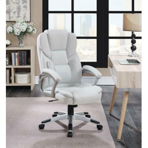 CoasterCasual White Faux Leather Office Chair