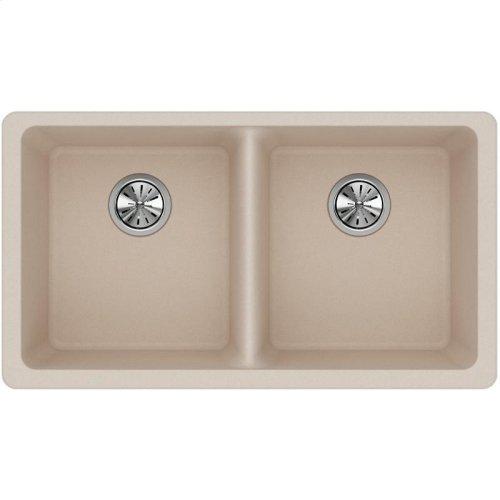 "Elkay Quartz Classic 33"" x 18-1/2"" x 9-1/2"", Equal Double Bowl Undermount Sink, Putty"