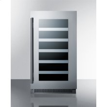 """18"""" Wide Built-in Wine Cellar With Seamless Stainless Steel Trimmed Glass Door and Stainless Steel Wrapped Cabinet"""