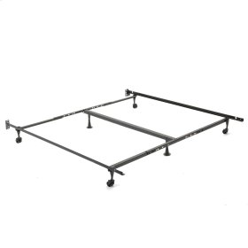 """Deluxe Promotional Adjustable Bed Frame K52R with Fixed Headboard Brackets and 2"""" Locking Rug Rollers, Queen - King"""