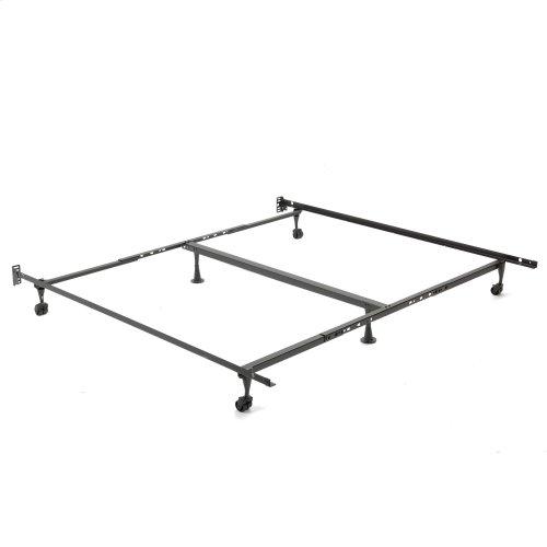 "Deluxe Promotional Adjustable Bed Frame K52R with Fixed Headboard Brackets and 2"" Locking Rug Rollers, Queen - King"
