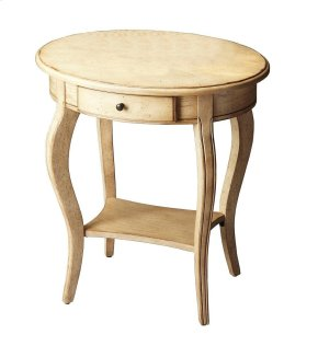 This graceful accent table is a wonderful addition to virtually any space. Crafted from hardwood solids, wood products and choice veneers, it features a vibrant hand-rubbed, distressed finish over cherry veneers. Includes one drawer with antique brass fin