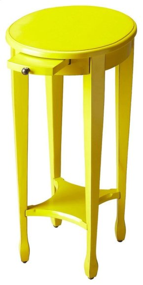 Crafted from poplar hardwood solids, wood products and birch veneer, this petite round accent table is functional - with a pull-out beverage tray- and brilliant. It adds a vibrant yellow finish to enhance the mood of any room.