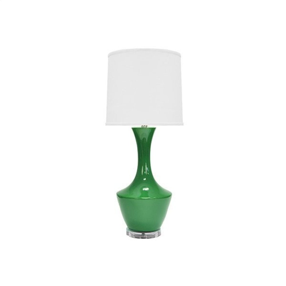 Ceramic Table Lamp With White Linen Shade In Kelly Green -ul Approved for (1) 60 Watt Bulb- 3 Way Compatible