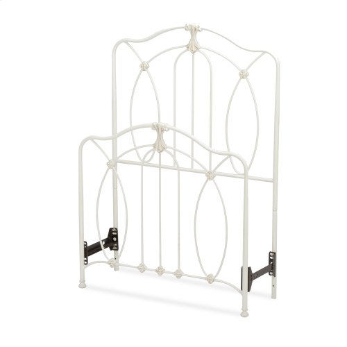 Kaylin Fashion Kids Metal Headboard and Footboard Bed Panels with Graceful Arches and Medallions Accents, Soft White Finish, Twin