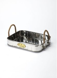 This elegant serving tray is certain to be the finishing touch in your space. Featuring a stainless steel finish, it is hand crafted from stainless steel, brass, rope accents.
