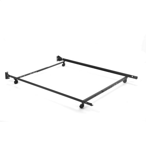 "Low Profile Adjustable Bed Frame 46R-LP with Keyhole Cross Arms and (4) 2"" Locking Rug Roller Legs, Twin - Full"