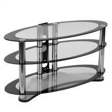 Two-Tone Glass TV Stand with Shelves and Chrome Tubing