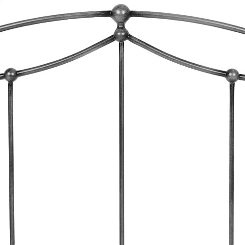 Braylen Metal Headboard and Footboard Bed Panels with Spindles and Detailed Castings, Weathered Nickel Finish, California King