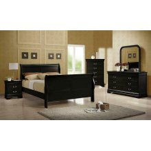 Louis Philippe Traditional Black Sleigh Full Bed