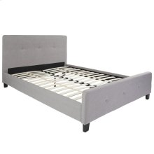 Queen Size Tufted Upholstered Platform Bed in Light Gray Fabric