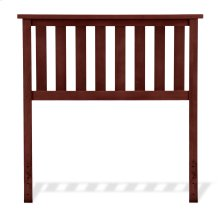 Belmont Wood Headboard Panel with Flat Top Rail and Slatted Grill Design, Merlot Finish, Twin
