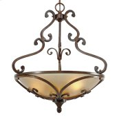 Loretto 3 Light Pendant in Russet Bronze with Riffled Tannin Glass