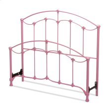 Amberley Fashion Kids Metal Headboard and Footboard Bed Panels with Elegant Curves and Floral Medallion Accents, Cotton Candy Pink Finish, Twin
