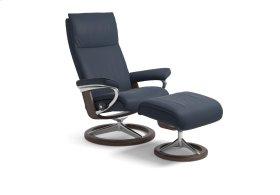 Stressless Aura Medium Signature Base Chair and Ottoman