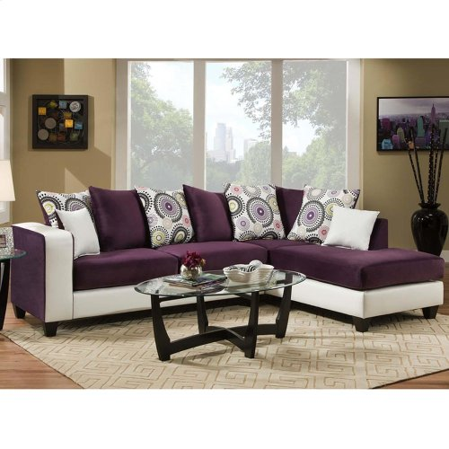 Implosion Purple Velvet Sectional with Right Side Facing Chaise