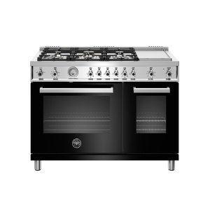 48 inch All-Gas Range 6 Brass Burner and Griddle Nero - NERO
