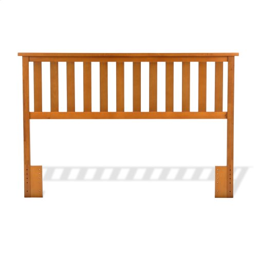 Belmont Wooden Headboard Panel with Slatted Grill Design, Maple Finish, Full / Queen