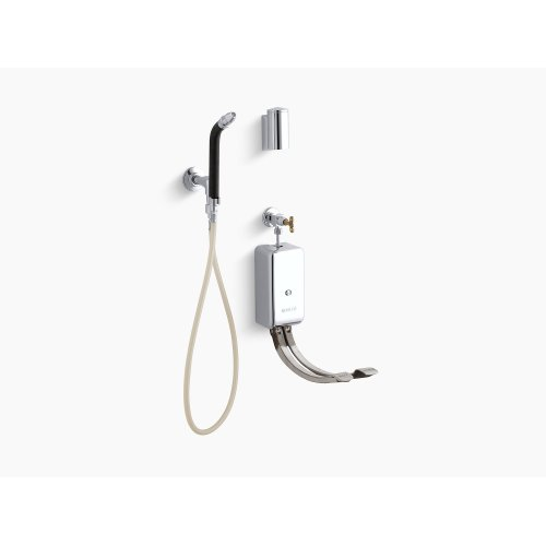 Polished Chrome Bedpan Washer With Double Foot Control Mixing Valves and Integral Stops
