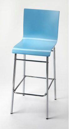 Enhance your kitchen, bar or work space with this modern bentwood barstool. Its high-back rectangular seat is finished in sky blue with a chrome plated steel tube base and footrest.