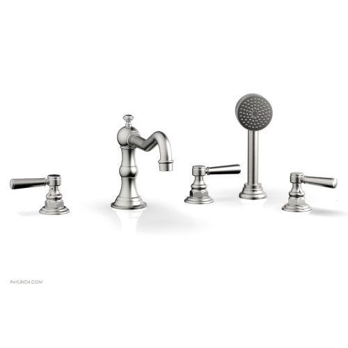 HENRI Deck Tub Set with Hand Shower with Lever Handles 161-49 - Satin Chrome