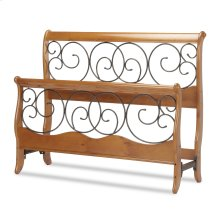 Dunhill Wood Headboard and Footboard Sleigh Style Bed Panels with Metal Autumn Brown Swirling Scrolls, Honey Oak Finish, Queen