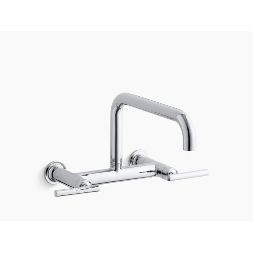 "Vibrant Polished Nickel Two-hole Wall-mount Bridge Kitchen Sink Faucet With 13-7/8"" Spout"