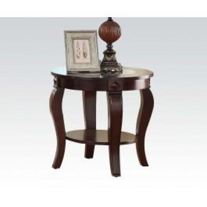Round End Table W Gl Top N