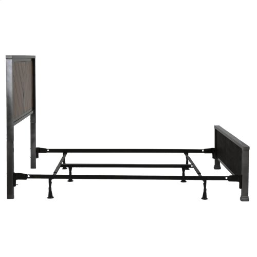 Braden Complete Metal Bed and Steel Support Frame with Rustic Reclaimed Faux Wood in Diagonal Pattern Frame, Rustic Tobacco Finish, California King