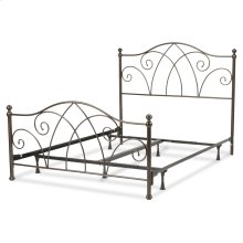Deland Complete Bed with Curved Grill Design and Finial Posts, Brown Sparkle Finish, Queen