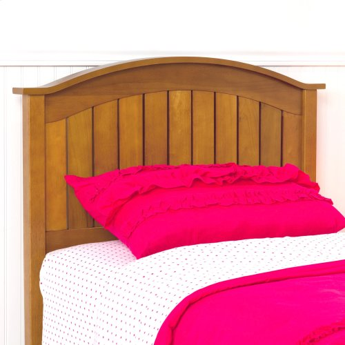 Finley Wood Headboard Panel with Curved Top Rail and Slatted Grill Design, Maple Finish, Twin