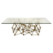 "Gold Leaf Iron Coffee Table Base Only. Pictured With 36""w X 60""l Plain Glass Top: Molecule Cfg60."