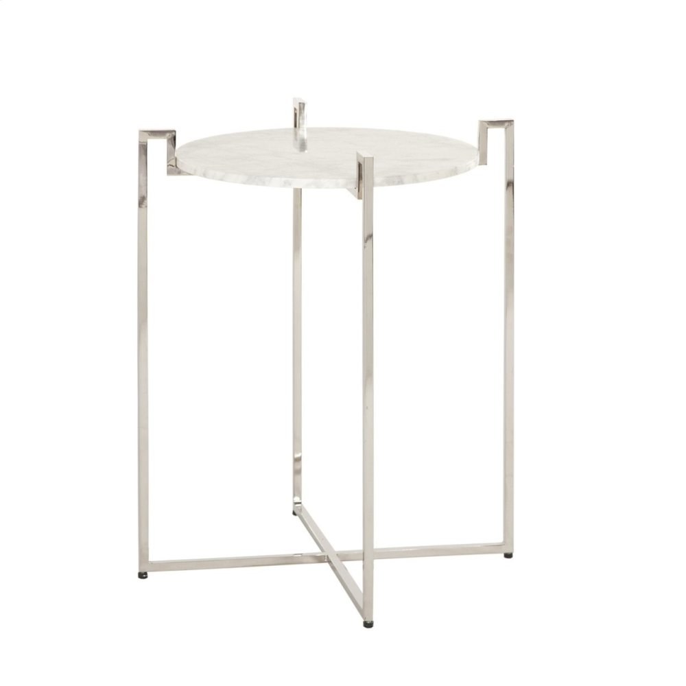 Nickel Side Table With Greek Key Detail & White Marble Top