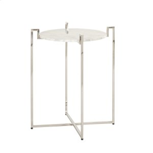 Worlds AwayNickel Side Table With Greek Key Detail & White Marble Top