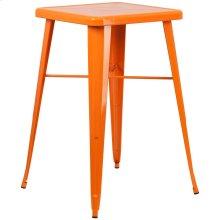 23.75'' Square Orange Metal Indoor-Outdoor Bar Height Table