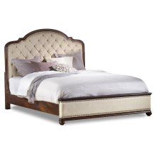 Bedroom Leesburg Queen Upholstered Bed with Wood Rails