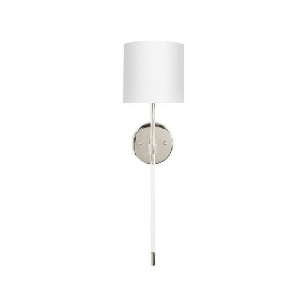 Simple Acrylic Sconce In Nickel With White Linen Shade - Ul Approved for One 60 Watt Candelabra Bulb