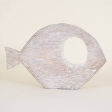 Large Whitewashed Abstract Fish With Mirrored Mosaic Eye