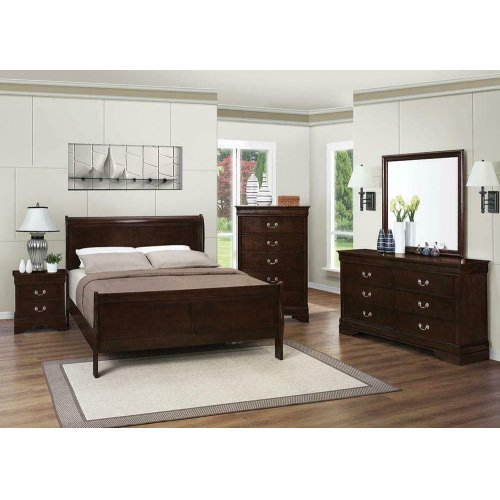 Louis Philippe Cappuccino Eastern King Sleigh Bed