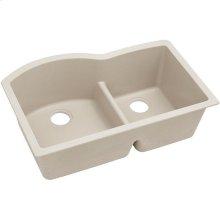 """Elkay Quartz Classic 33"""" x 22"""" x 10"""", Offset 60/40 Double Bowl Undermount Sink with Aqua Divide, Bisque"""